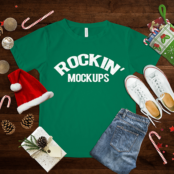 Christmas T shirt Mockup Green