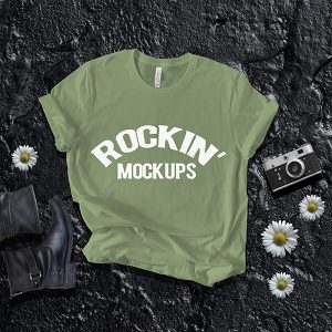 Moss Green Bella Canvas 3001 T shirt Mockups