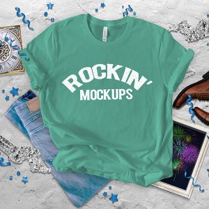 New Years Eve Teal Party Bella Canvas T shirt Mockup