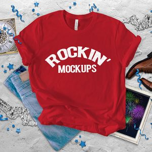 Red New Year T shirt Mockup Bella Canvas 3001 Texture Background New Years Eve New Years Day
