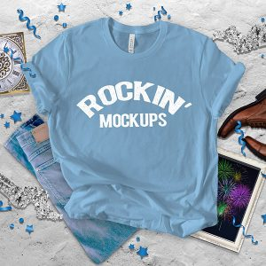 Ocean Blue Bella Canvas 3001 T shirt Mockup New Years Eve Day