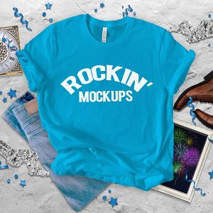 Neon Blue New Year T shirt Mockup Bella Canvas 3001 Texture Background New Years Eve New Years Day